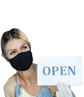 a shopkeeper opening her shop wearing a mask